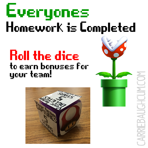 Gamification: Super Mario Brothers Homework Dice | Heck Awesome Learning